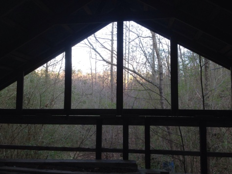This is another picture from inside the barn loft. I couldn't resist using the framing of the loft to capture the sunset.